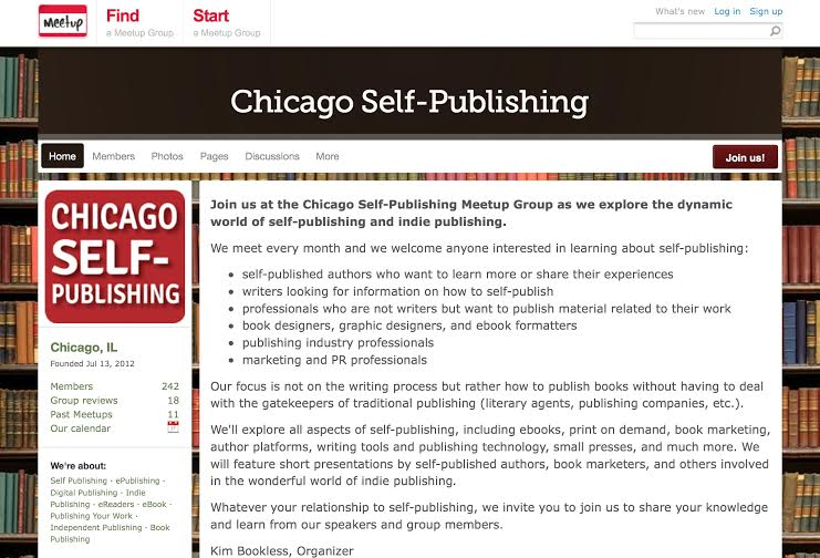 Kim Bookless's Chicago Self-Publishing Meet Up Club